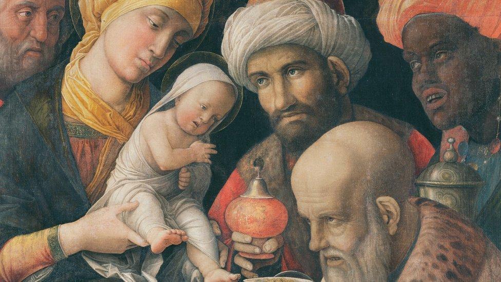 Pintura sobre la adoración de los magos.