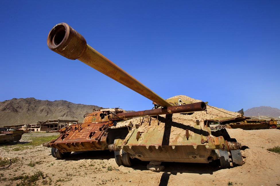 Tanques rusos utilizados para entrenamientos en 2009.