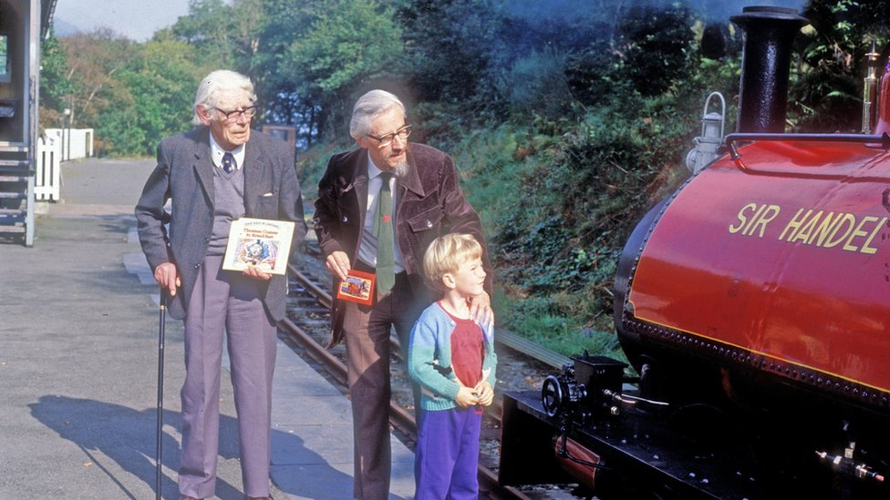 The Rev. W Awdry, his son Christopher and grandson Richard with Loco No. 3 'Sir Handel' in September 1985 at Talyllyn Railway