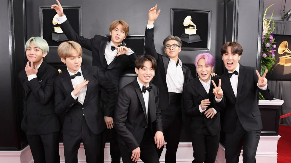 South Korean boy band BTS attends the 61st Annual GRAMMY Awards at Staples Center on February 10