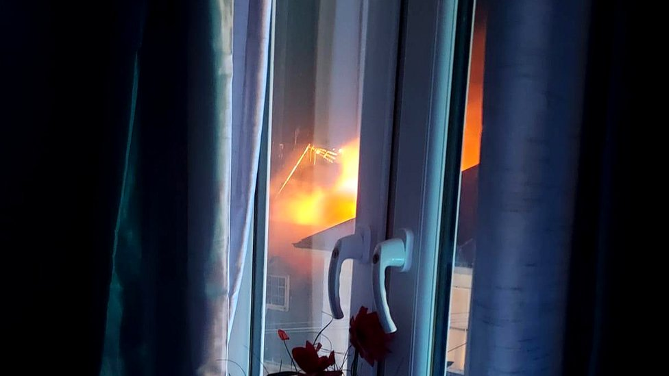 Property on fire.
