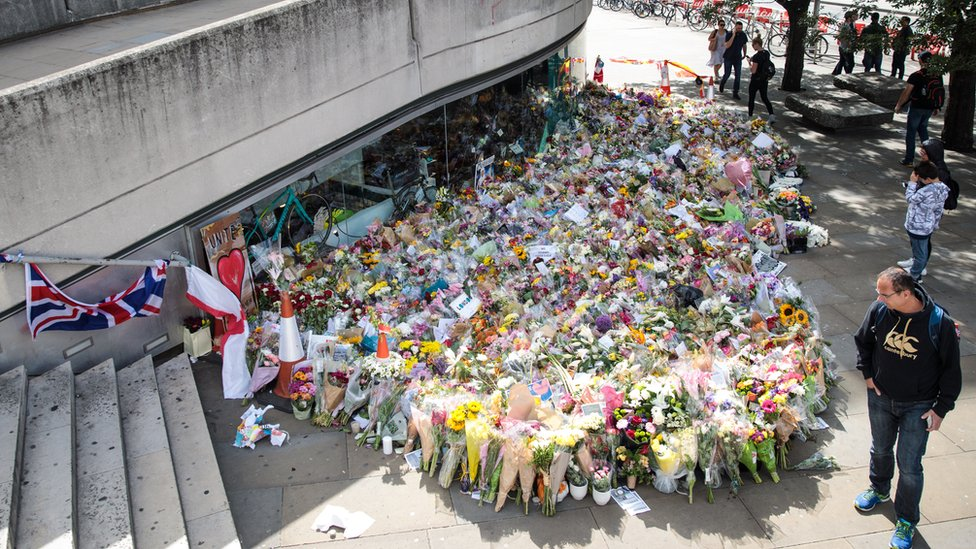 Floral tributes lie at the south end of London Bridge following the June 3rd attacks