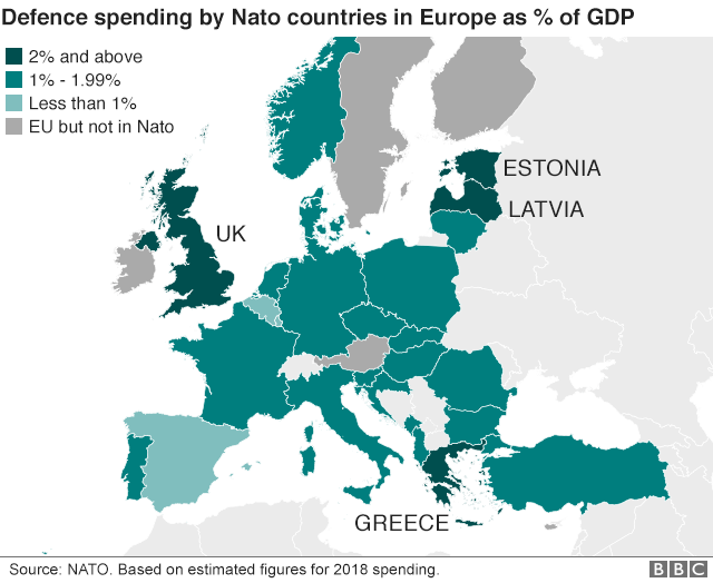 Map showing defence spending by percentage of GDP by Nato members in Europe