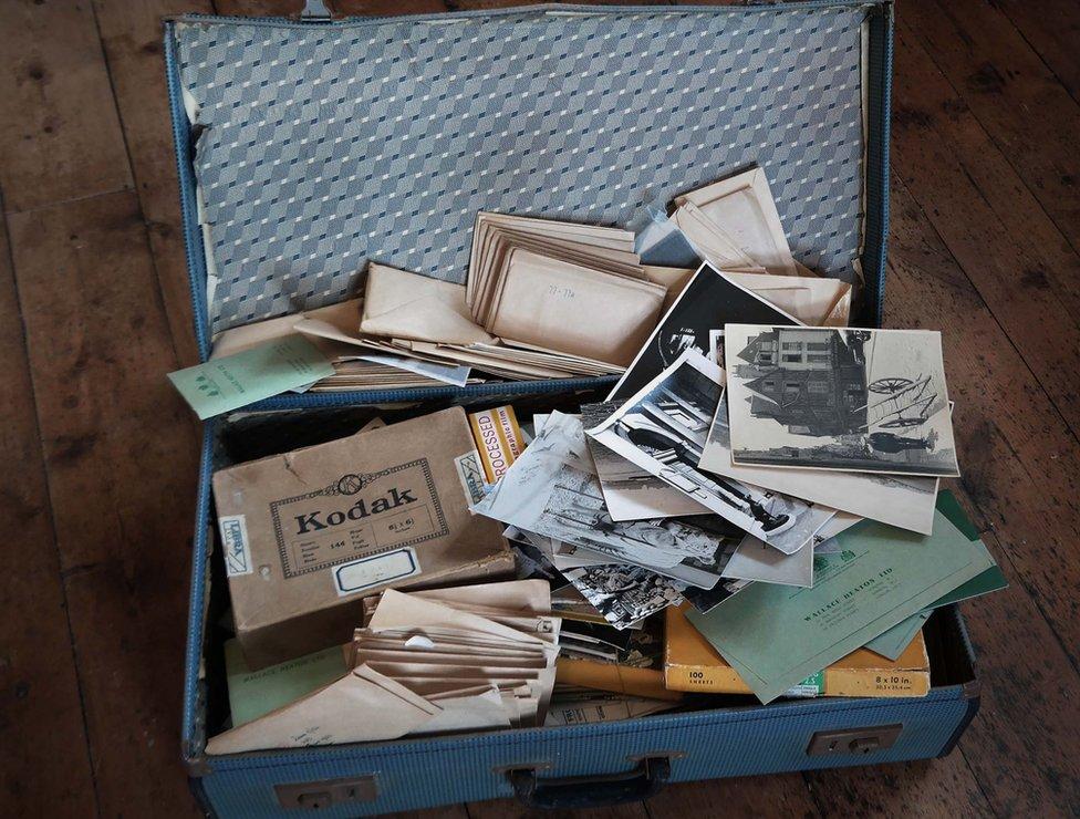 Suitcase of photographs taken by John Turner