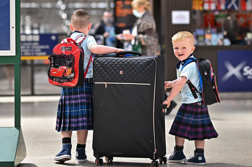 young fans at Glasgow Central on Thursday