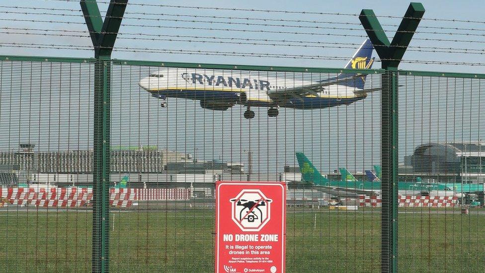 Drone temporarily stops flights at Dublin