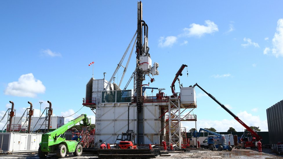 Drilling rig at the Preston New Road site
