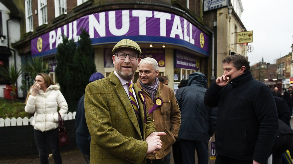 Paul Nuttall (front) in Stoke-on-Trent