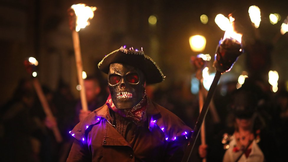 Annual bonfire night procession held by the Lewes Bonfire Societies
