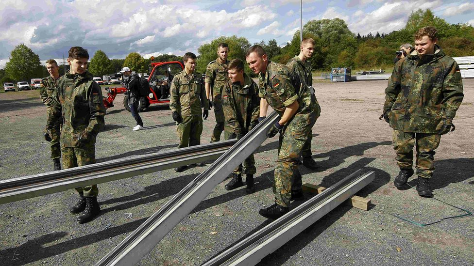Hanau, Germany - army builds tent for migrants, 14 Sep 15