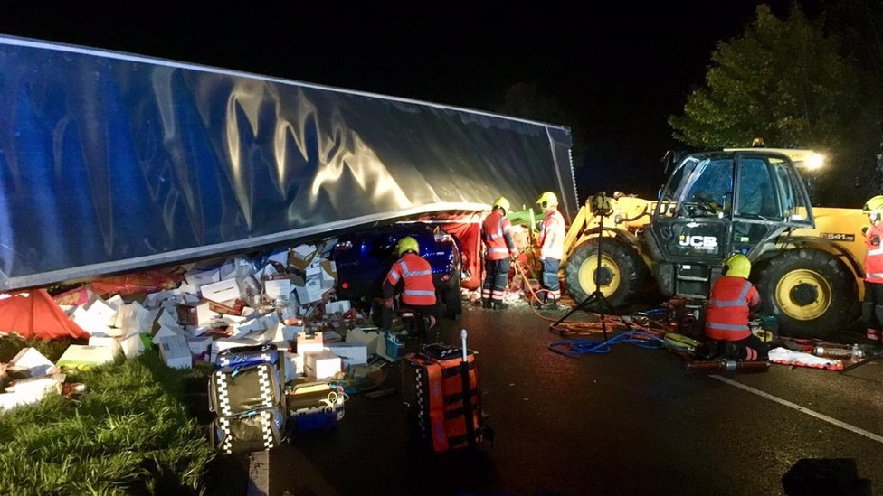Pasta, sauce and tomatoes spilled in Doddington lorry crash