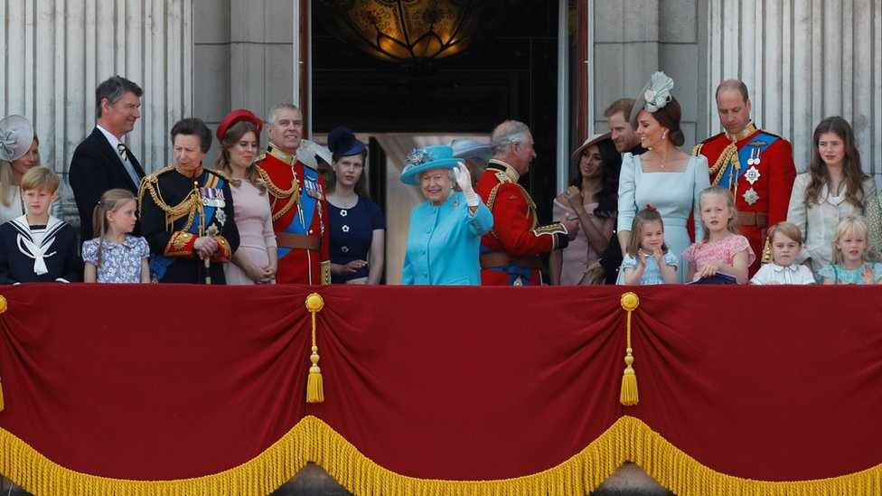 The royals gathered on the balcony at Buckingham Palace to watch the flypast