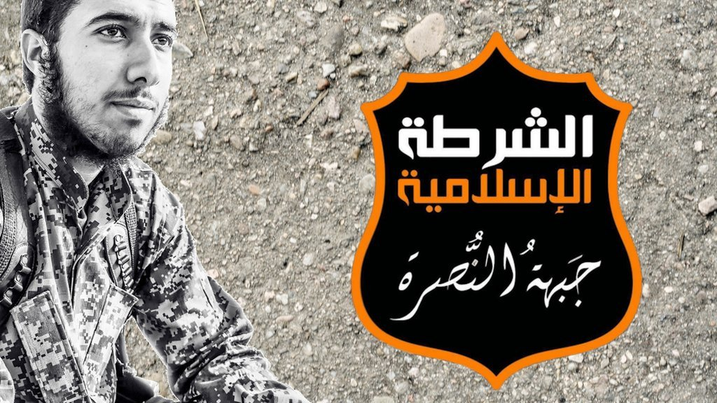 Images of a British jihadist from Brighton and the logo for al-Nusra - the Syrian branch of al-Qaeda
