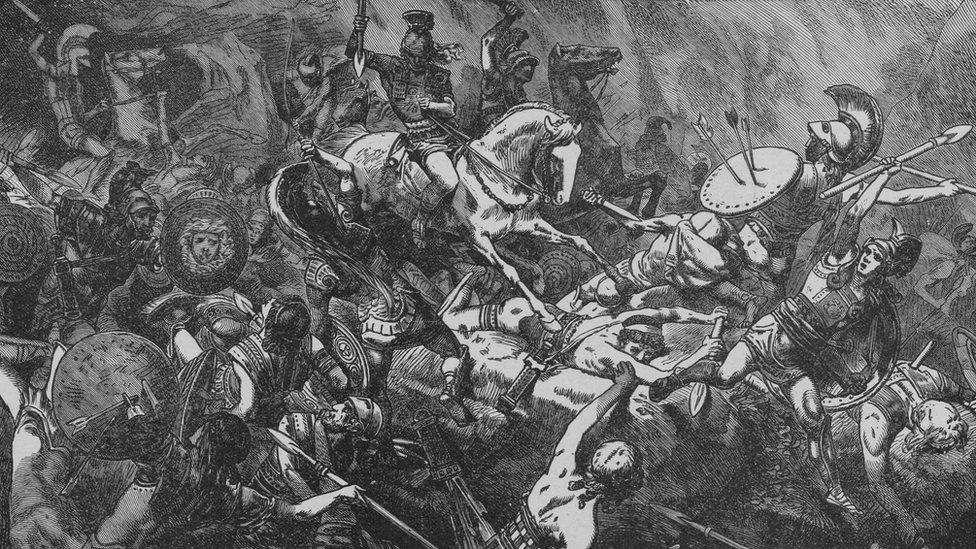Grabado sobre la destrucción de las fuerzas armadas de Atenas en Sicilia, durante la Guerra del Peloponeso.
