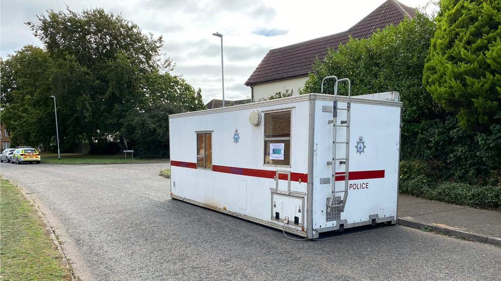A temporary police station remains at the scene near Friends Walk in Kesgrave