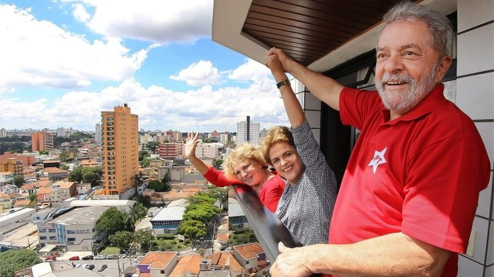 Handout picture by the Instituto Lula of the Former Brazilian President, Luiz Inacio Lula Da Silva (R) with his wife Marisa (L) and the President of Brazil, Dilma Rousseff (c) at Lula's residence in Brasilia, Brazil, 05 March 2016.