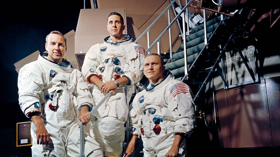 James (Jim) Lovell, Frank Borman y William (Bill) Anders, tripulantes de la misión Apollo 8