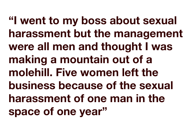 """""""I went to my boss about sexual harassment but the management were all men and thought I was making a mountain out of a molehill. Five women left the business because of the sexual harassment of one man in the space of one year."""""""