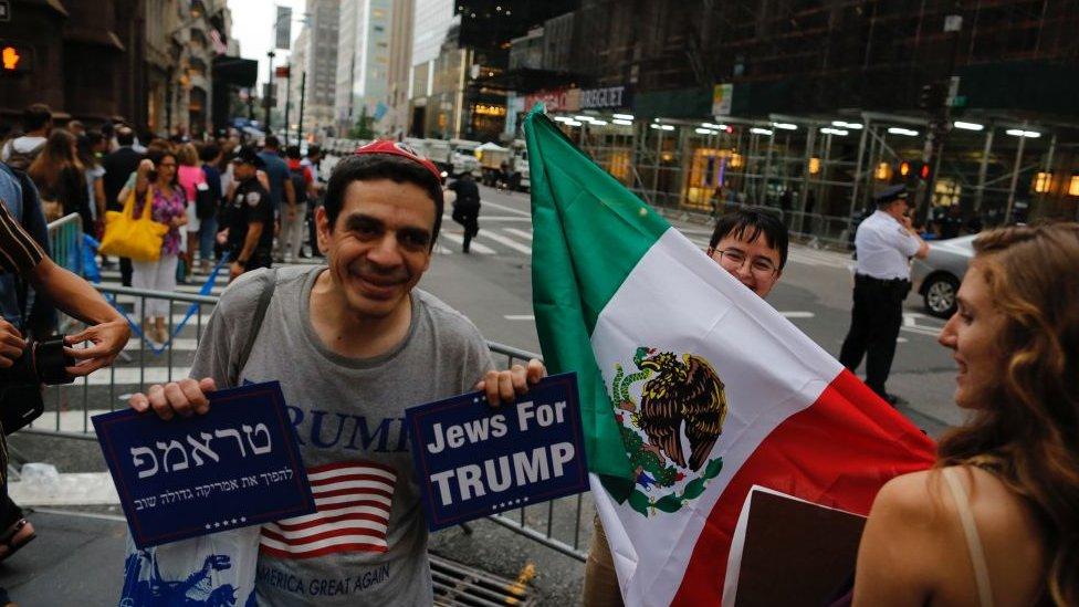 Man with Jews for Trump sign