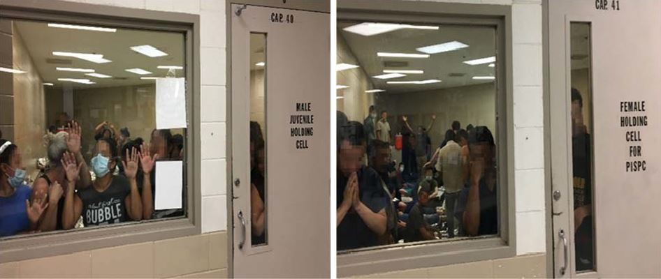 52 adult females held in a 40-person capacity cell (left) and 71 adult males held in a cell meant for 41 (right)
