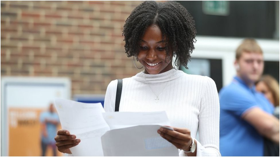Gabrielle Joseph at Peter Symonds College, Winchester, receives her A-Level results