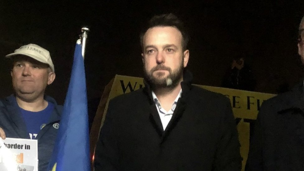 SDLP leader Colum Eastwood at a border protest