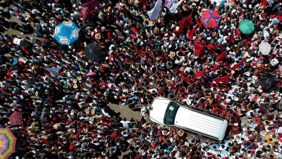 Simpatizantes de López Obrador en un acto de campaña el pasado mes de julio.