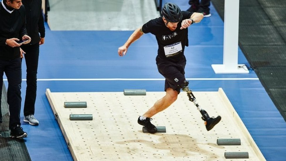 Billy Costello of Iceland competes during the leg prosthesis race at the Cybathlon
