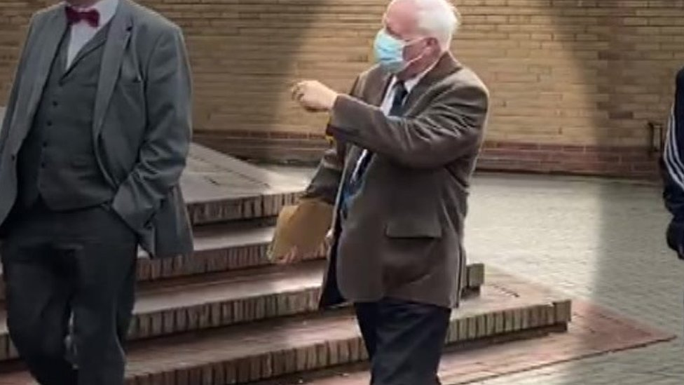 Mr Atkinson arriving at court