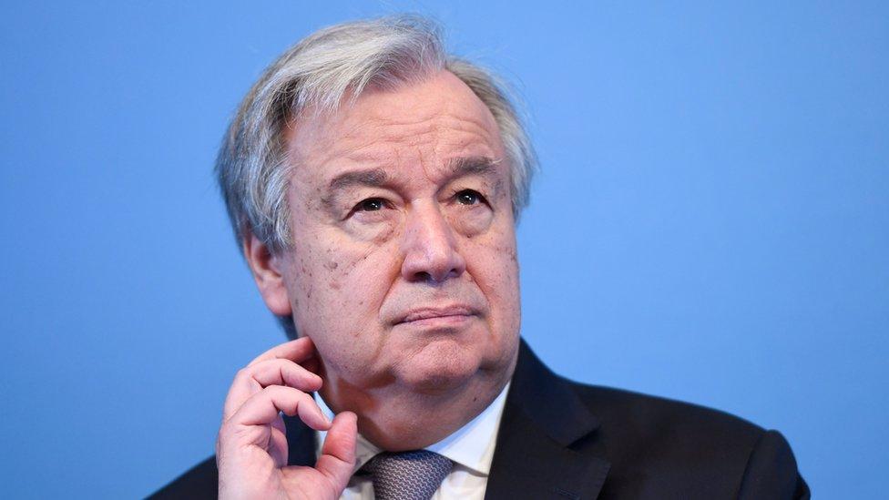 聯合國秘書長安東尼奧·古特雷斯(Antonio Guterres)在瑞典的記者會上