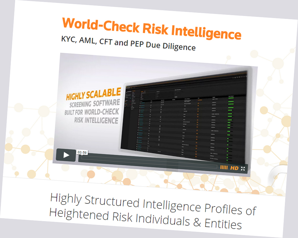 Screen grab of World Check website