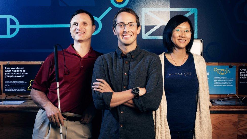 Matt King, head of accessibility Jeffrey Wieland and data scientist Shaomei Wu