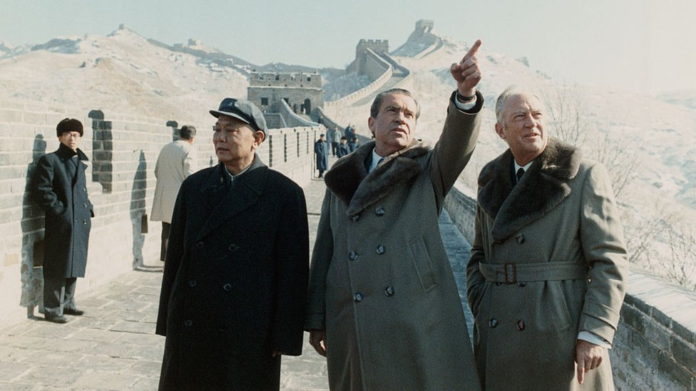 Richard Nixon at the Great Wall of China