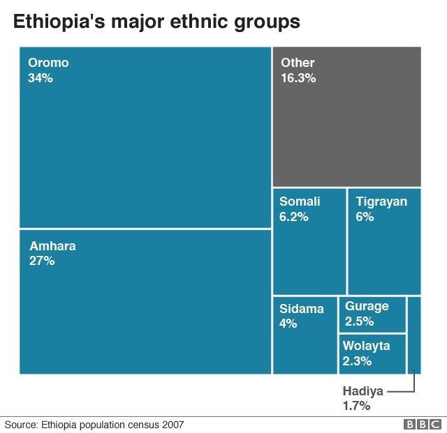 الجماعات العرقية الرئيسية في إثيوبيا. الأورومو تشكل 34% من السكان، الأمهرة تشكل 27%، والتيغريون 6%، إلى جانب عرقيات أخرى
