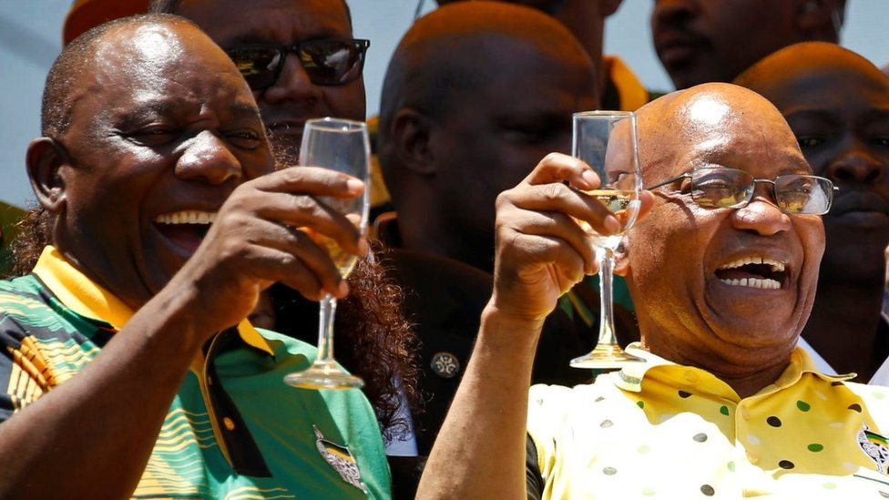 "African National Congress (ANC) President Cyril Ramaphosa (L) celebrates the Congress"" 106th anniversary celebrations with Kenyan President Uhuru Kenyatta (R) and president of South Africa Jacob Zuma, in East London, South Africa, January 13, 2018."