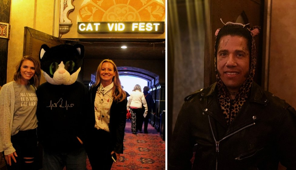 Collage of two women attending the screening, posting with a cat and Richard