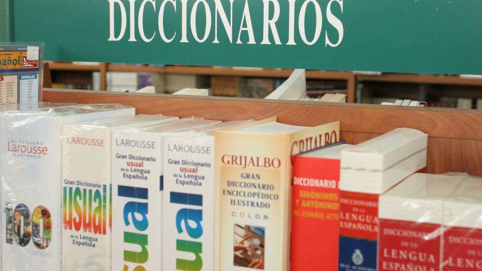 Estante con diccionarios