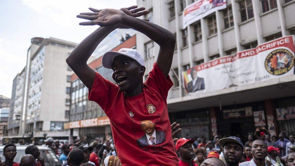 MDC supporter celebrating