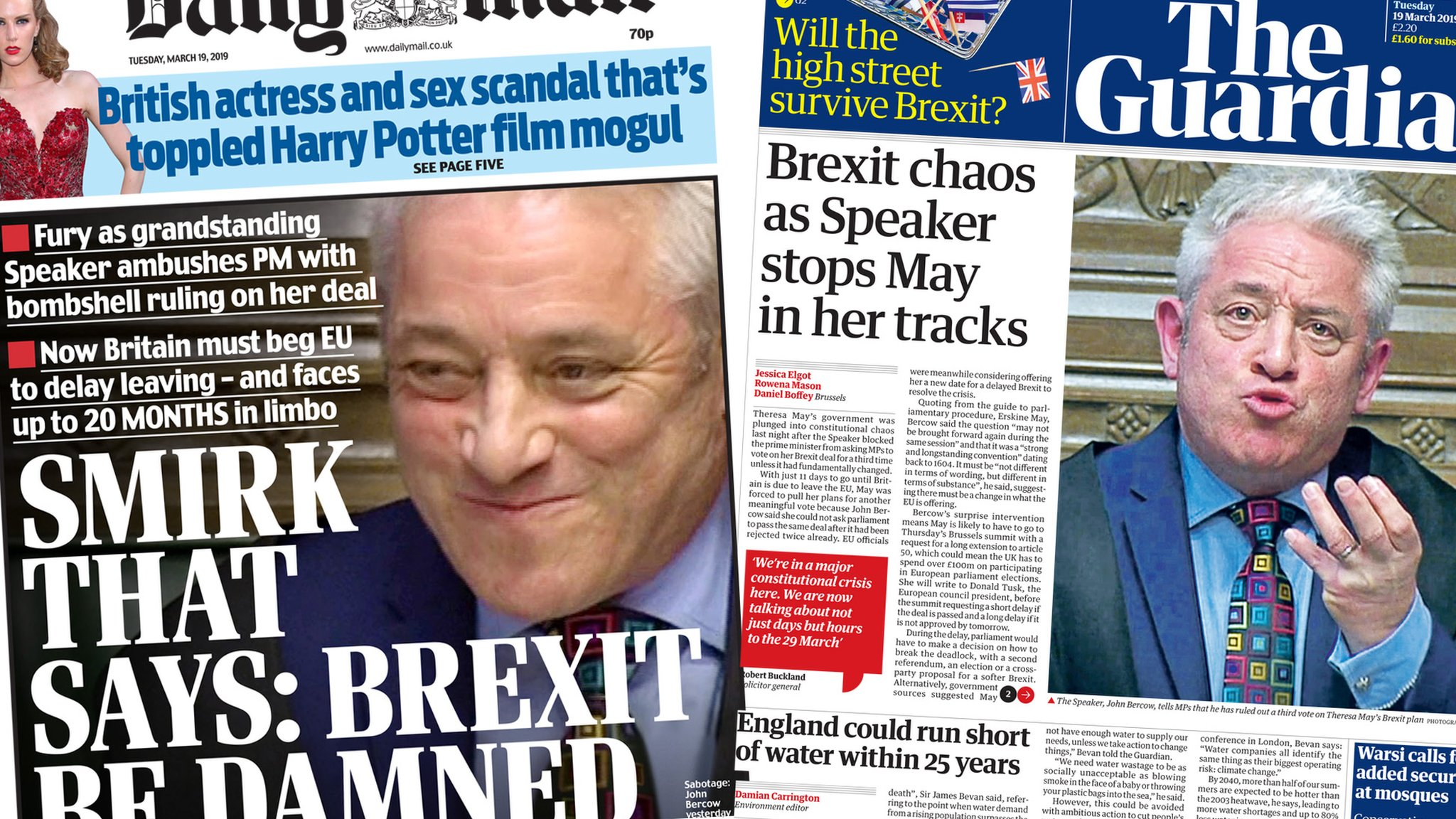 The Papers: 'Brexit destroyer' Bercow's 'bombshell' ruling