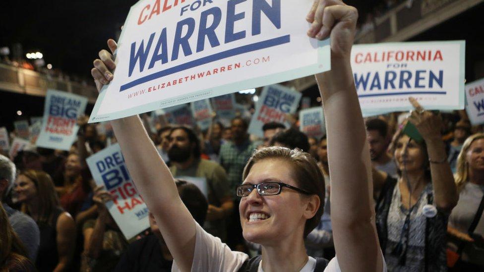 Seguidora de Warren con una pancarta.