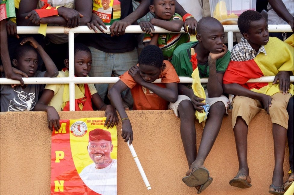 A group of young supporters of Niger's presidential candidate, Ibrahim Yacouba