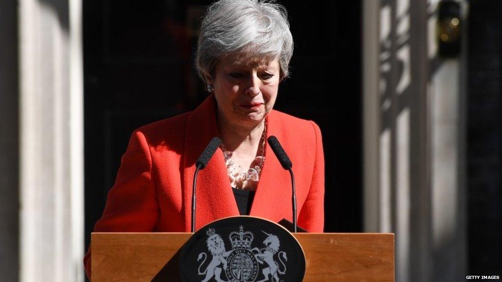 Theresa May resigning outside No 10
