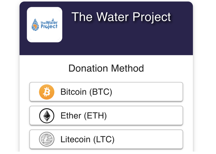 The Bitcoin payment widget on a charity website