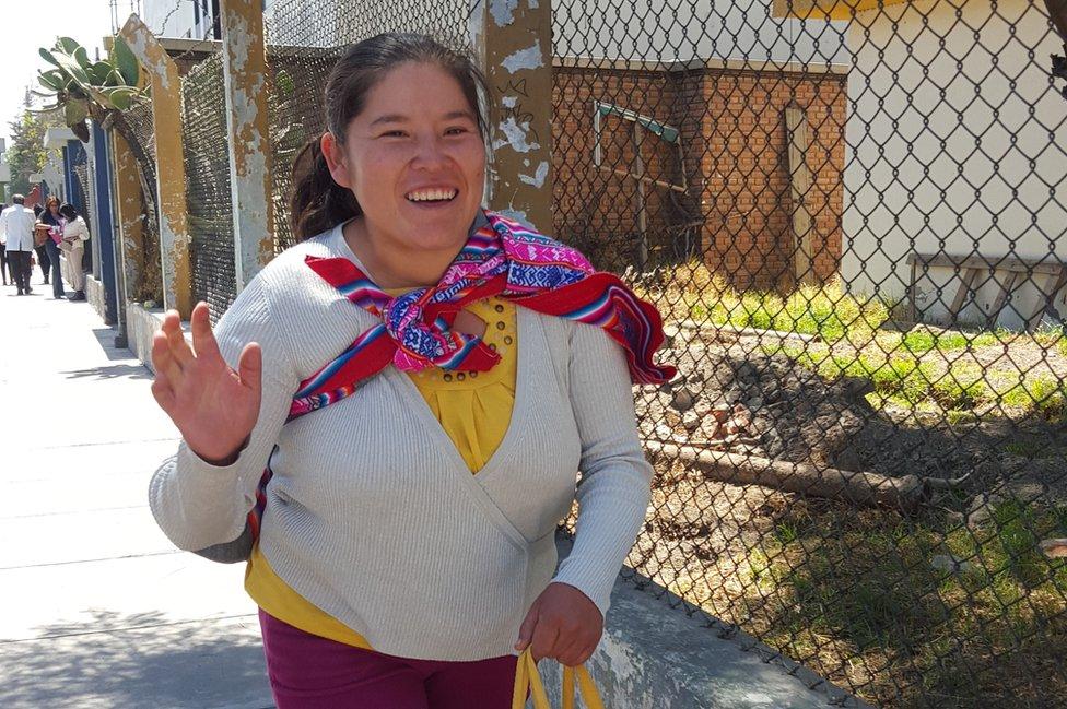 Yovana Vera smiles to the camera in Arequipa, Peru