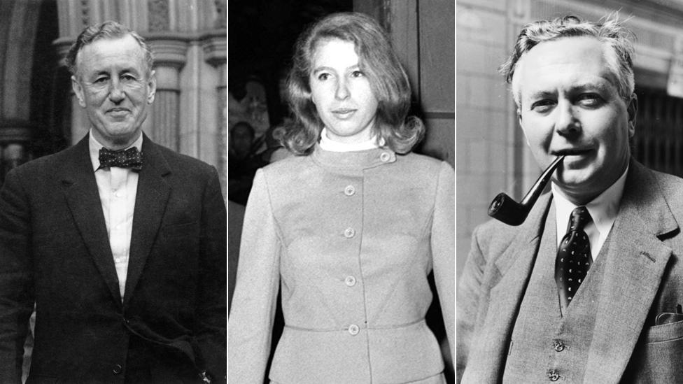 Ian Fleming; Princess Anne; Harold Wilson