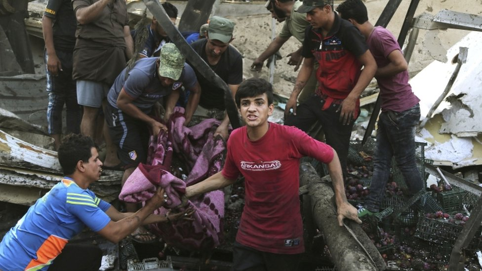 Victim of a truck bombing in a Baghdad market, file