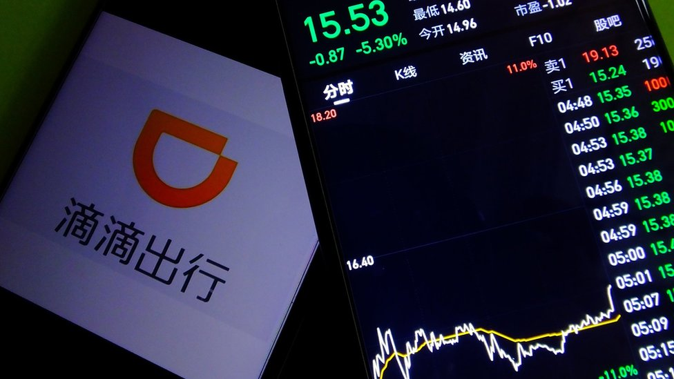 JULY 6, 2021 - A mobile phone shows the Didi Chuxing APP and its stock price, Yichang, Hubei Province, China, July 6, 2021.