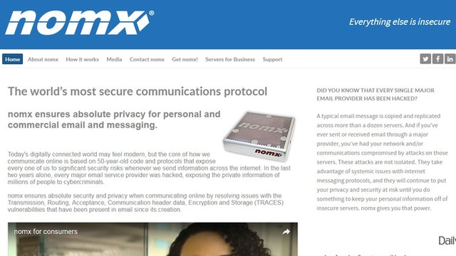 Screengrab of Nomx homepage