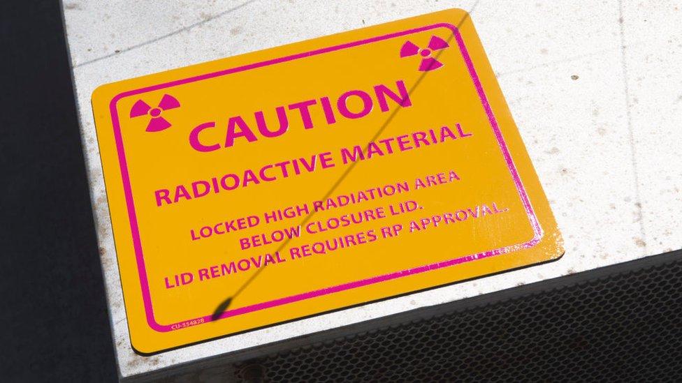 A radiation warning sign in California
