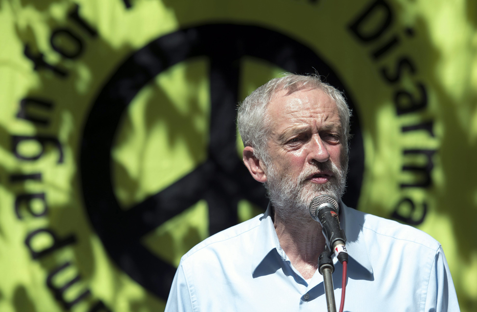 Jeremy Corbyn in front of a CND banner